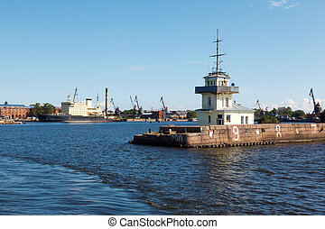 Kronstadt port and damage to coastal structures, Russia