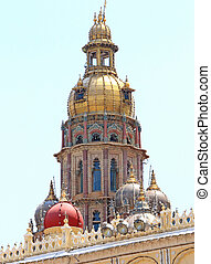 Mysore Palace Karnataka india - steeple on the roof of this...