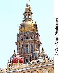 Mysore Palace Karnataka india - steeple on the roof of this...