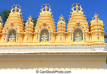 Mysore Palace Karnataka india - colourful carvings above a...