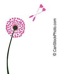Dandelion Heart Seed Lovers - A dandelion with seeds of...