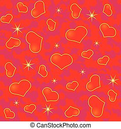 Abstract Valentine's day background with many red hearts and the stars