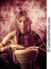reconstruction - Portrait of the American Indian. Ethnicity...