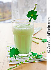 Green Milkshake - Green milkshake for celebrating St...