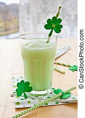 Green Milkshake - Green milkshake for celebrating St...