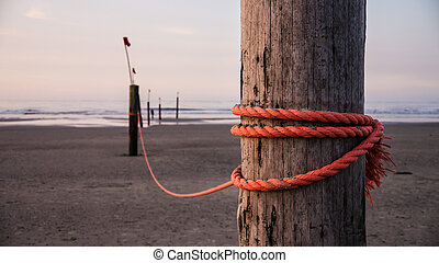 rope on stake - strong red rope on wooden stake