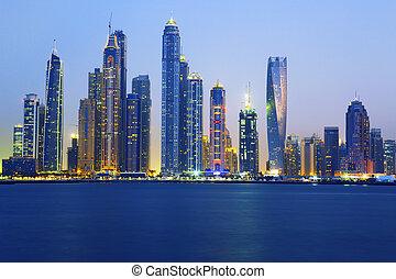 view of Dubai at sunrise, UAE