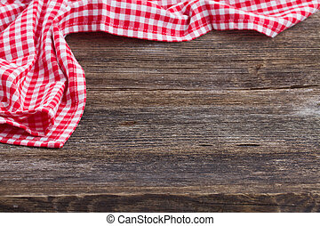 frame of blue napkin - empty wooden table and cloth red...