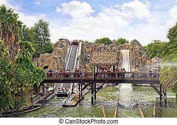Amusement park in Spain near Salou- Port Aventura. Salou,...