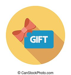 Gift card. Single flat color icon. Vector illustration.