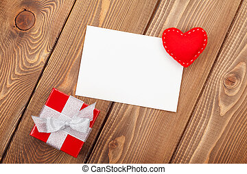 Valentines day toy heart, blank greeting card and gift box...