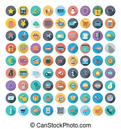 Shopping icons set Color Flat design style with long shadow...
