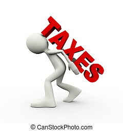 3d man carrying word tax - 3d illustration of person...