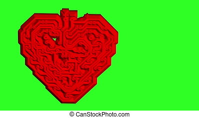 Circuit board pattern in the shape of the heart Green screen...