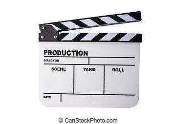 clapper board isolated - clapper board on white background