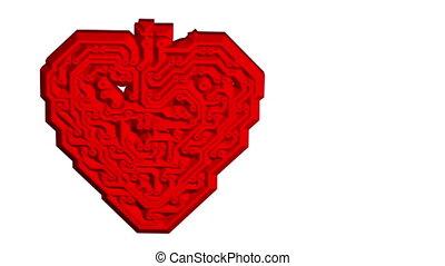 Circuit board pattern in the shape of heart - Circuit board...