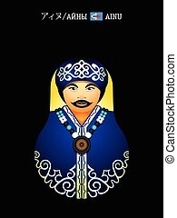Matryoshka Ainu girl - Matryoshkas of the World: Ainu native...