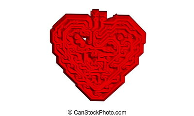 Circuit board pattern in the shape of heart - Circuit board...