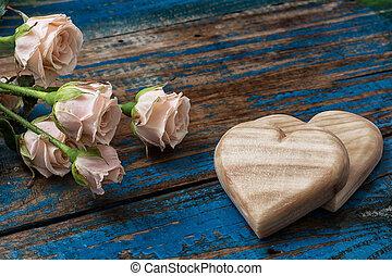 madeira, corações, feito à mão, rosas