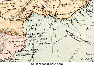 Antique Map - Vintage (1907 copyright-expired) map showing...