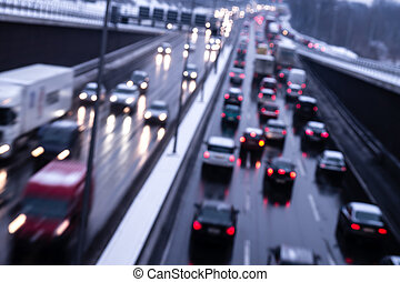 cars on highway in evening