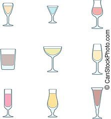 color outline alcohol glasses icon