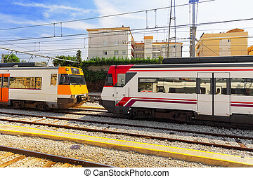 Suburban railway train at the railways stantion. Spain,...