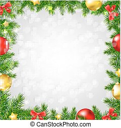 Christmas Fir Tree Border With Bokeh With Gradient Mesh,...