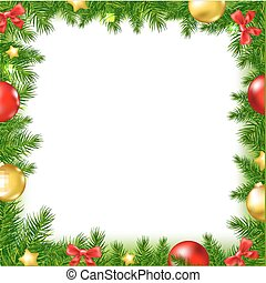 Xmas Fir Tree Frame With Red Ribbon And Stars