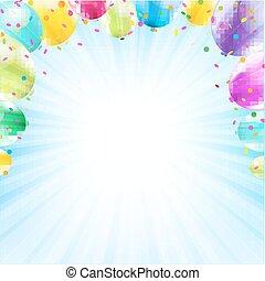 Birthday Card Design Template Balloon Illustration