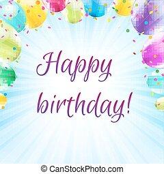 Color Birthday Card Design Template Balloon Illustration