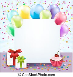 Colorful Birthday Card With Gradient Mesh, Vector...