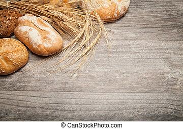 bread, y, de madera, tabla,