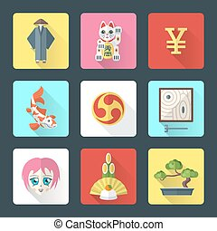japan theme flat style icons set - vector national japanese...