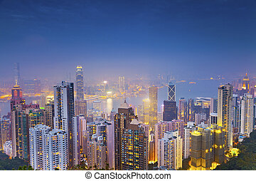 Hong Kong. - Image of Hong Kong with many skyscrapers during...