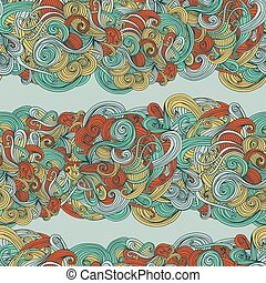 Abstract seamless hand-drawn wave pattern Use as pattern...
