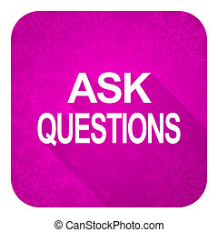 ask questions violet flat icon, christmas button