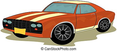 Sports car - Clip art of retro sports car
