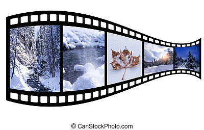 film strip with winter images
