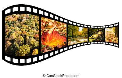 film strip with autumn images