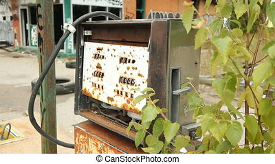 Destroyed gas pump - Destroyed gas pump at abandoned gas...