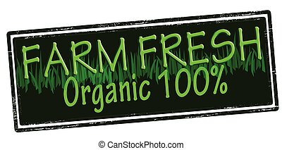 Farm fresh - Rubber stamp with text farm fresh inside,...