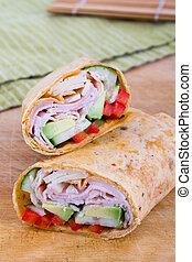Ham and avocado sandwich wrap roll - ham and avocado...