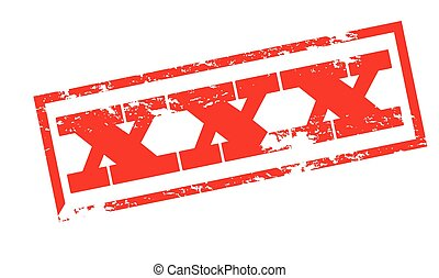 XXX - Rubber stamp with triple X inside, vector illustration
