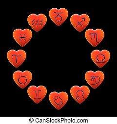 Zodiac Signs Hearts - Zodiac out of twelve heart shaped...