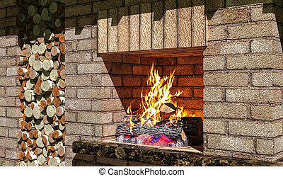 fireplace with wood burning fire and in niche