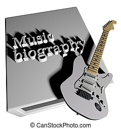 Music biography book with electric guitar, 3d render