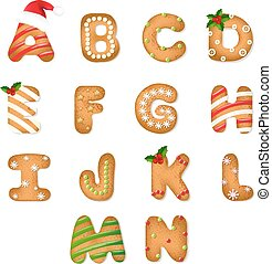 Christmas Gingerbread Cookie Alphabet With Gradient Mesh,...