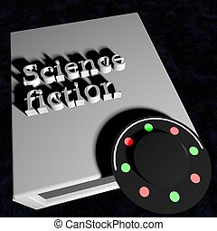 Science fiction book with ufo on the cover, 3d render