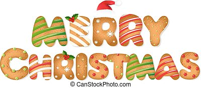 Christmas Gingerbread Cookie Text With Gradient Mesh, Vector...